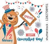 happy groundhog day design in...   Shutterstock . vector #1282708951