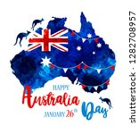 happy australia day lettering....   Shutterstock . vector #1282708957