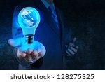 businessman hand shows light...   Shutterstock . vector #128275325
