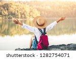 female tourists in beautiful... | Shutterstock . vector #1282754071