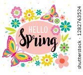 hello spring with cute flowers... | Shutterstock .eps vector #1282763524