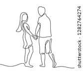 couple holding hands continuous ... | Shutterstock .eps vector #1282764274