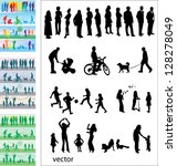 leisure activities   silhouettes | Shutterstock .eps vector #128278049