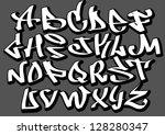graffiti font alphabet letters. ... | Shutterstock .eps vector #128280347