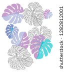 vector tropical pattern with... | Shutterstock .eps vector #1282812001