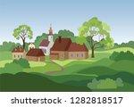 rural landscape with hills ... | Shutterstock .eps vector #1282818517