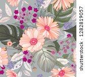 floral seamless pattern. garden ... | Shutterstock .eps vector #1282819057