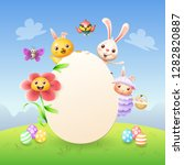 easter greeting card template   ... | Shutterstock .eps vector #1282820887