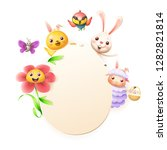 easter greeting card template   ... | Shutterstock .eps vector #1282821814