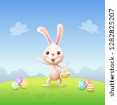 easter bunny with basket and... | Shutterstock .eps vector #1282825207