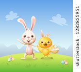 easter bunny and chicken with... | Shutterstock .eps vector #1282825951