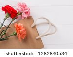 colorful carnation flowers and... | Shutterstock . vector #1282840534