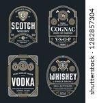 alcoholic drinks vintage thin... | Shutterstock .eps vector #1282857304