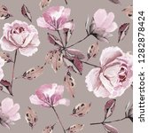 Seamless pattern with flowers and leaves. Floral background for Wallpaper, paper and fabric. Watercolor painting with pink roses. - stock photo