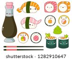 set of cute sushi and rolls... | Shutterstock .eps vector #1282910647