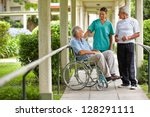 two senior citizens talking to... | Shutterstock . vector #128291111