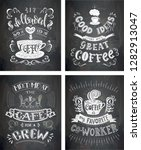 set of coffee quotes on the... | Shutterstock .eps vector #1282913047