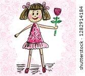 girl with flower. vector... | Shutterstock .eps vector #1282914184