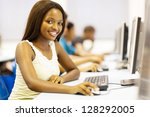 pretty african american college ... | Shutterstock . vector #128292005
