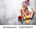 variety of cold meat cuts and... | Shutterstock . vector #1282936027