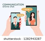 cartoon people chating in... | Shutterstock .eps vector #1282943287