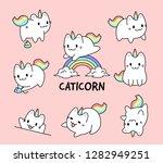 cute little cat unicorn set | Shutterstock .eps vector #1282949251