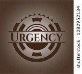 urgency wood emblem. vintage.   Shutterstock .eps vector #1282952134