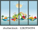 set of travel banners  tropical ... | Shutterstock .eps vector #1282954594