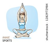 happy young woman doing yoga ... | Shutterstock .eps vector #1282972984