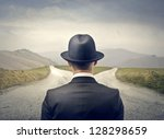 businessman with hat in front... | Shutterstock . vector #128298659