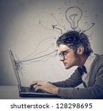 young man working on laptop | Shutterstock . vector #128298695