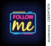 follow me neon text vector with ... | Shutterstock .eps vector #1282997674