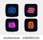 neon set of survey progress ... | Shutterstock .eps vector #1283002141