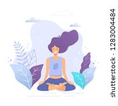 woman sitting in lotus position ... | Shutterstock .eps vector #1283004484