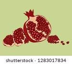 pomegranate isolated on white... | Shutterstock .eps vector #1283017834