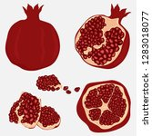 whole and cut pomegranate icon... | Shutterstock .eps vector #1283018077