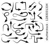 black arrows. set of bent icons.... | Shutterstock .eps vector #1283031334