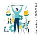 businessman holds dumbbells... | Shutterstock .eps vector #1283032141