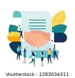 vector illustration  handshake  ... | Shutterstock .eps vector #1283036311