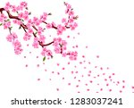 sakura. branches with purple... | Shutterstock .eps vector #1283037241