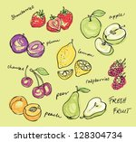 fruit doodles set vector | Shutterstock .eps vector #128304734