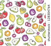 fruit doodles seamless vector | Shutterstock .eps vector #128304764