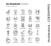 set of 25 museum linear icons... | Shutterstock .eps vector #1283049901