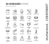 set of 25 diseases linear icons ... | Shutterstock .eps vector #1283058007