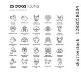 Set Of 25 Dogs Linear Icons...
