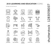 set of 25 e learning and... | Shutterstock .eps vector #1283058037