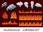 fire vector set. flames and... | Shutterstock .eps vector #1283060107