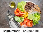 healthy salad bowl with quinoa  ... | Shutterstock . vector #1283064481