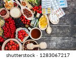 medicinal tablets and pills and ... | Shutterstock . vector #1283067217
