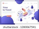 landing page with camper van... | Shutterstock .eps vector #1283067541